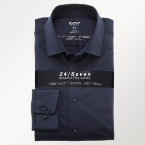 Olymp flex jersey skjorte i navy