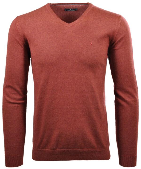 Ragman tynd strik-pullover i brændt orange