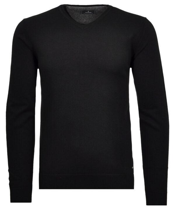Ragman sort pullover i tynd strik