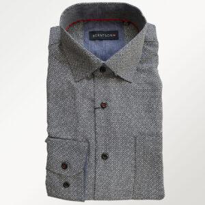 Berntson langærmet skjorte i sort/hvidt mønster