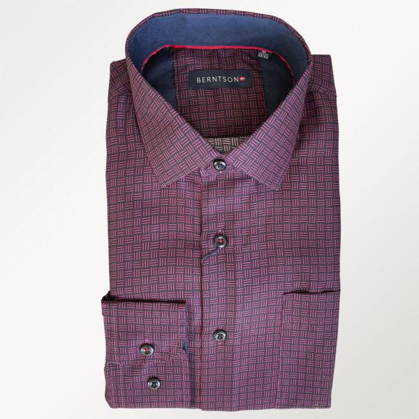 Berntson langærmet skjorte i sort/rødt mønster