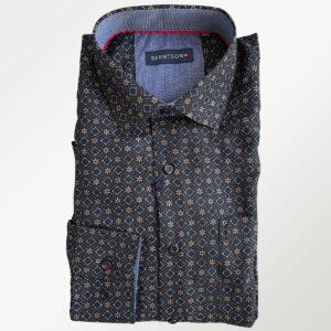 Berntson langærmet sort herreskjorte med mønster