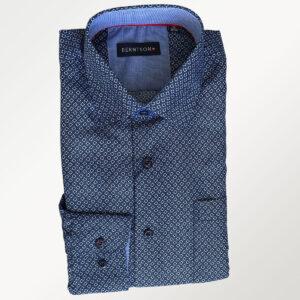 Berntson herreskjorte, mørkeblå med mønster