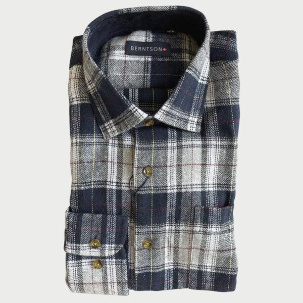 Berntson skomandsskjorte m. blå og grå tern