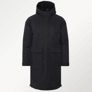 Solid parka coat i sort